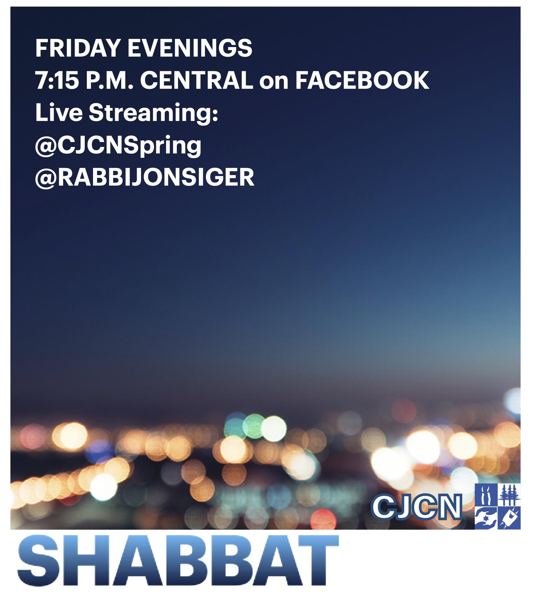 Erev Shabbat Live on Facebook